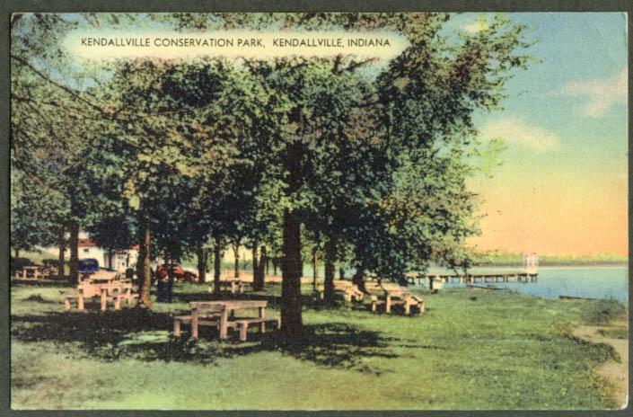 Picnic Conservation Park Kendallville IN postcard 1952