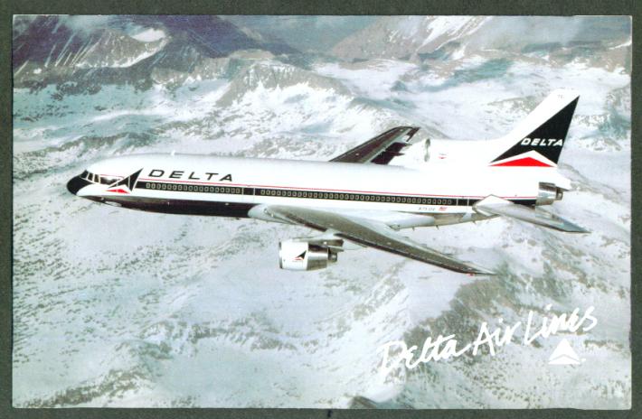 Delta Air Lines L1011 TriStar postcard 1970s