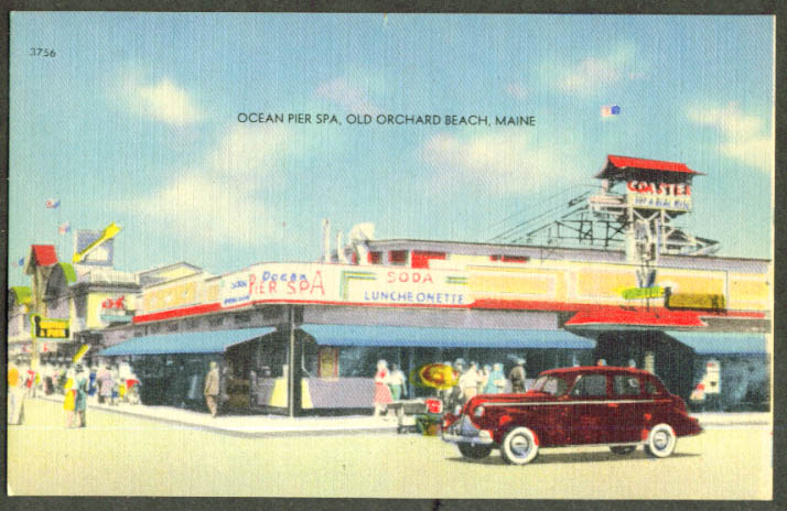 Ocean Pier Spa Old Orchard Beach ME postcard 1930s