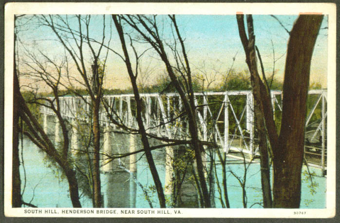 Henderson Bridge near South Hill VA postcard 1927