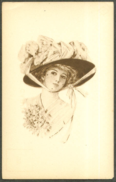 Pretty girl in flowered hat Earl Christy postcard 1910