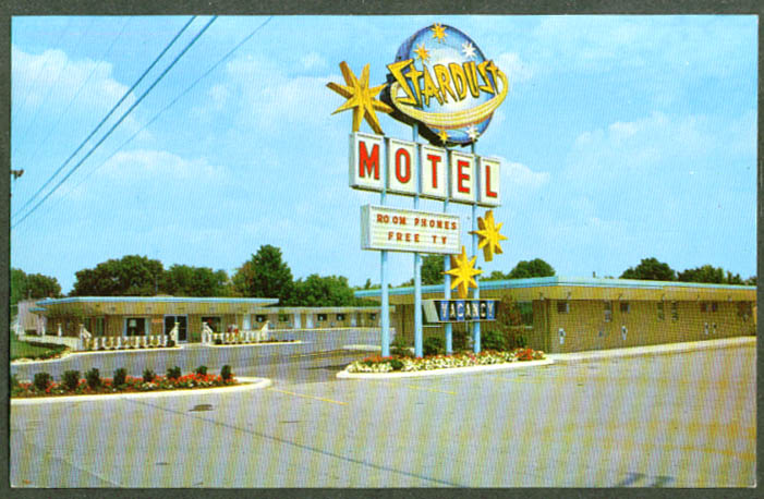 Stardust Motel & Restaurant N Lima OH postcard 1950s