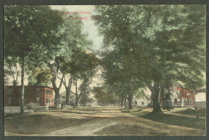 View up Pleasant Street Cronwell CT postcard 1909