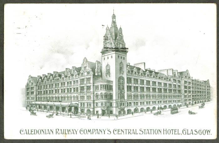 Caledonia Rwy Station Glasgow Scotland postcard 1909