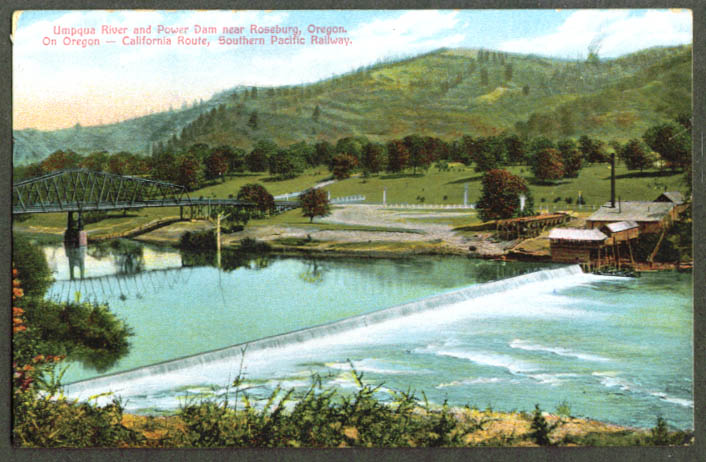 Umpqua Dam & Power Station Roseburg OR postcard 1910s