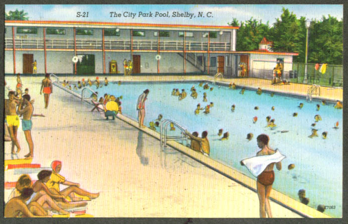 City Park Swimming Pool Shelby NC postcard 1940s