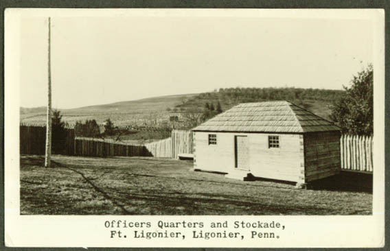 Officers Quarters Stockade Ft Ligonier PA RPPC 1940s