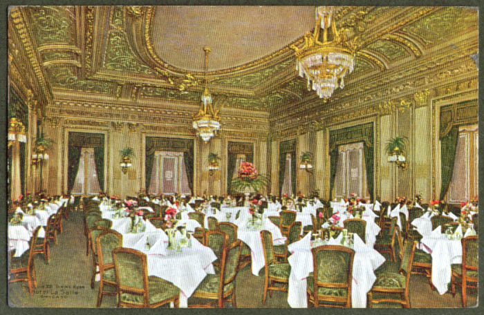 Louis XVI Dining Room Hotel LaSalle Chicago postcard 1910
