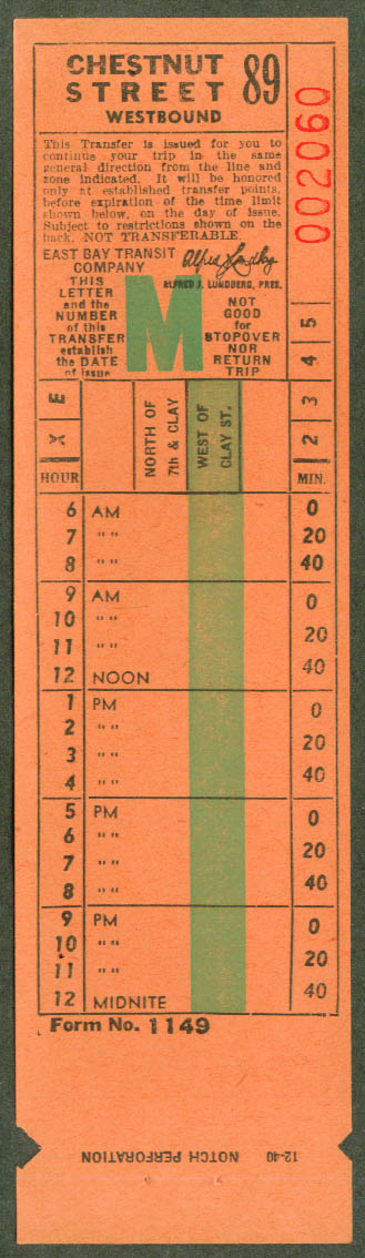 East Bay Transit Co Oakland CA transfer 1940 Chestnut