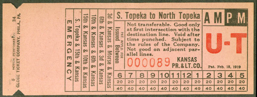 Kansas Power & Light streetcar transfer 1934 S Topeka