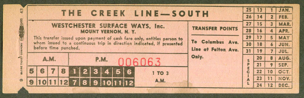 Westchester Surface Ways Mt Vernon NY transfer 1948
