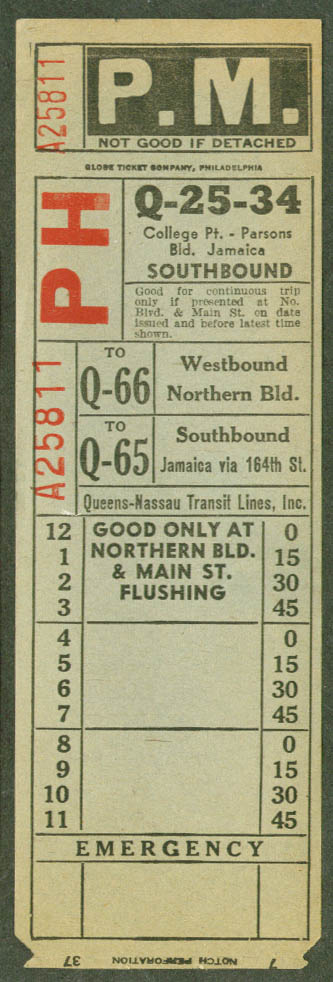 Queen-Nassau Transit Lines NYC transfer 1937