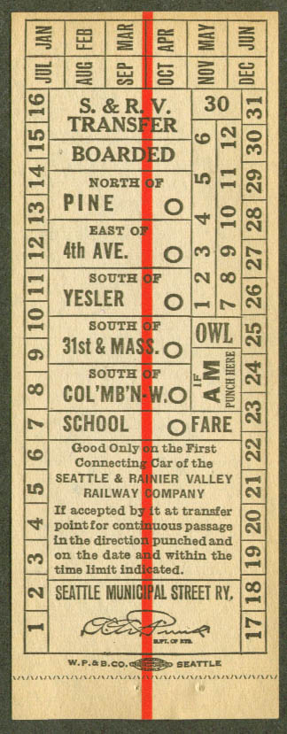Seattle & Rainier Valley Railway street car transfer