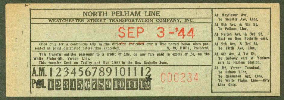 Westchester St Transportation N Pelham transfer 1944