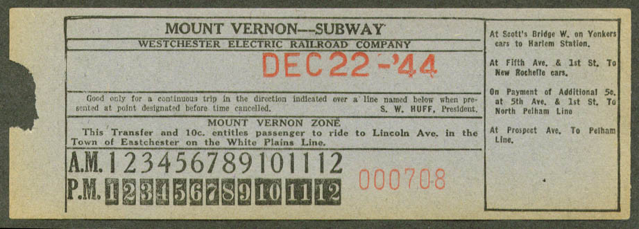Westchester Electric RR Mt Vernon Subway transfer 1944