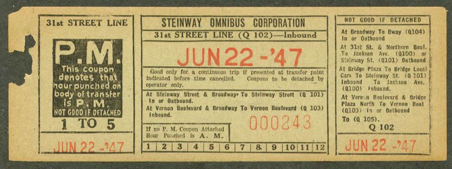 Steinway Omnibus 31st St Line transfer 1947