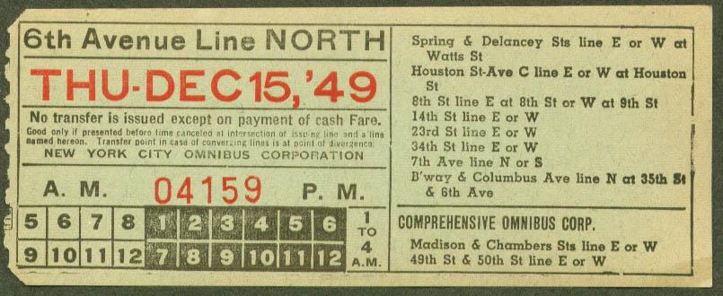 Comprehensive Omnibus NYC 6th Av N transfer 1949