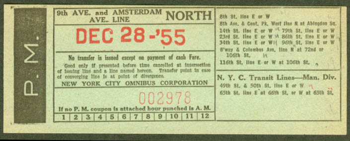 New York Ciy Omnibus 9th & Amsterdam Line transfer 1955