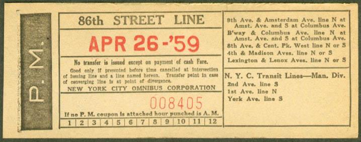 New York Ciy Omnibus 86th Street Line transfer 1959