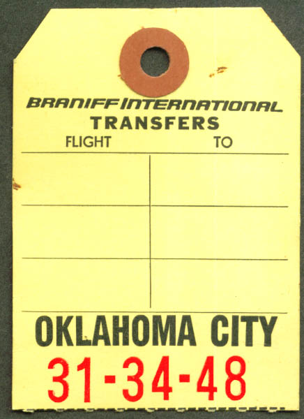 Braniff International transfer baggage check OKC 1965