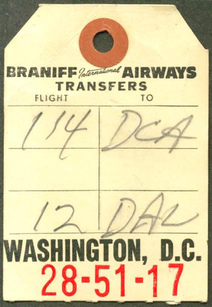 Braniff International transfer baggage check DCA 1960
