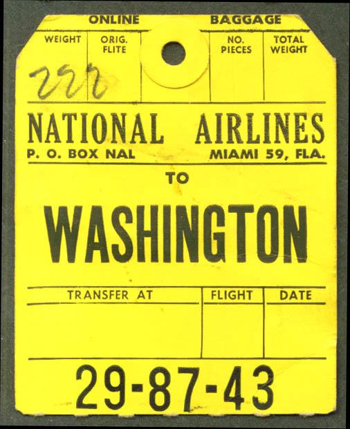 National Airlines baggage check Washington 1962 1964