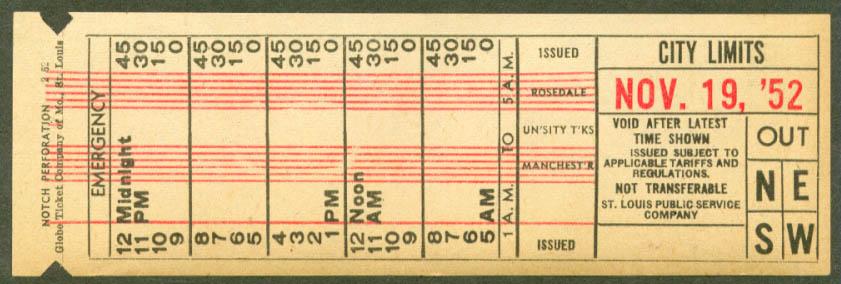 St Louis Public Service transfer City Limits 1952
