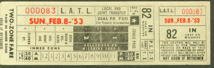 Los Angeles Transit Lines 2-zone fare transfer 1953