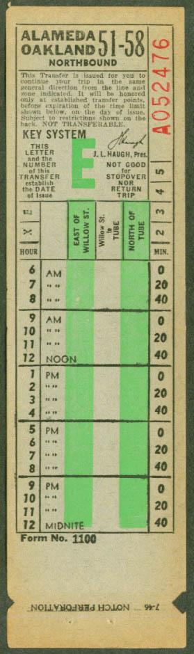 Oakland Key System RR transfer 1946 Alameda-Oakland
