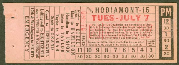 St Louis Public Service Hodiamont transfer 1931
