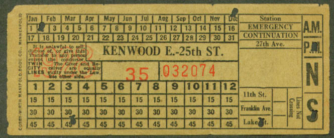 Twin City Lines transfer 1928 Kenwood E-25th St