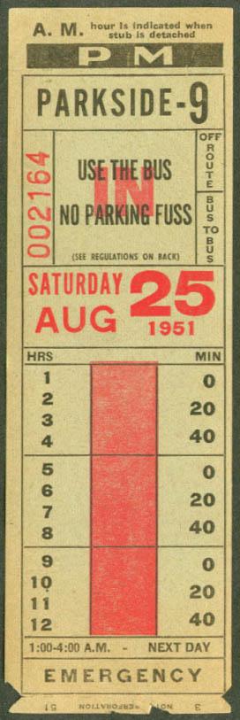 Niagara Frontier Transit bus transfer 1951 Parkside-9