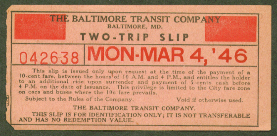 Baltimore Transit Two-Trip Slip 1946 MD