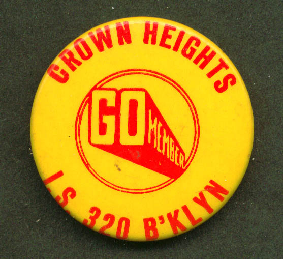 "Go Crown Heights I. S. 320 Brooklyn NY pinback 1 1/2"""