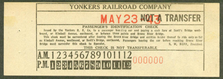 Yonkers Railroad Co Passenger ID Check 1943