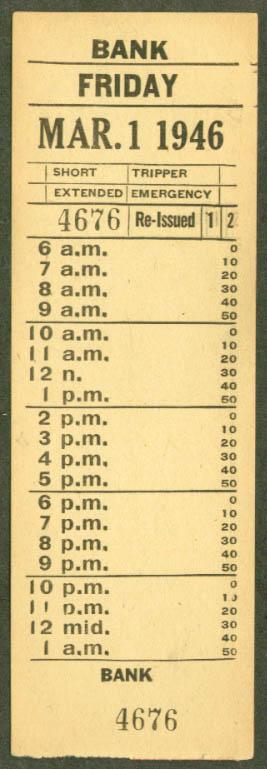 Ottawa Electric Railway transfer 1946 Bank
