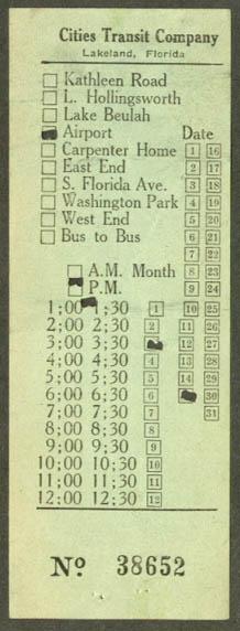 Cities Transit Co Lakeland FL transfer 1949