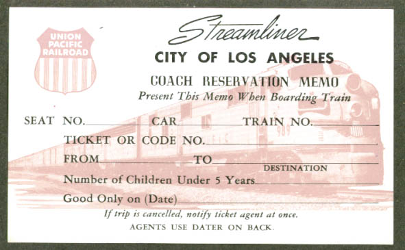 Union Pacific City of Los Angeles Coach Reservation 1950s