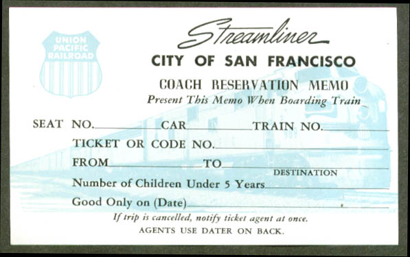 Union Pacific City San Francisco Coach Reservation 50s