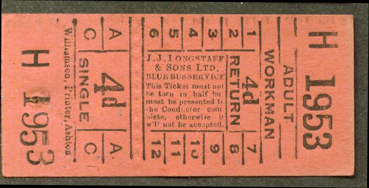 J J Longstaff & Sons Blue Busses ticket 4d Mirfield UK