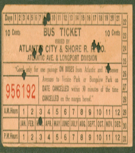 Atlantic City & Shore RR Bus Ticket transfer 1943