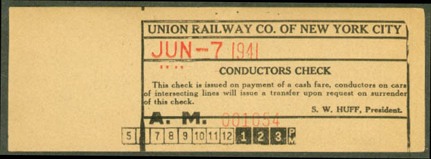 Union Railway of New York City Conductors Check 1941