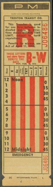 Trenton Transit Company R Line transfer NJ 1936