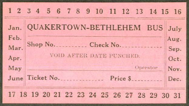 Quakertown-Bethlehem Bus Ticket unused undated PA