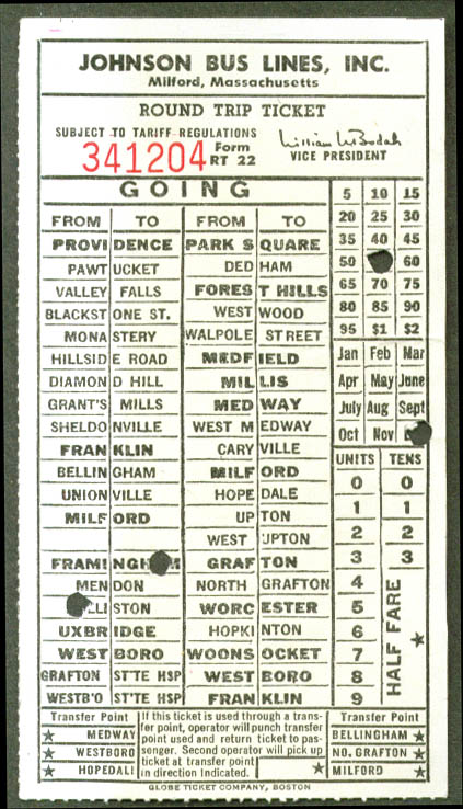 Johnson Bus Lines Milford MA Round Trip Ticket undated