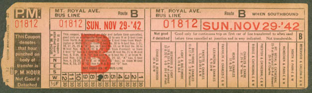 Baltimore Transit Mt Royal Av Bus Line transfer 1942