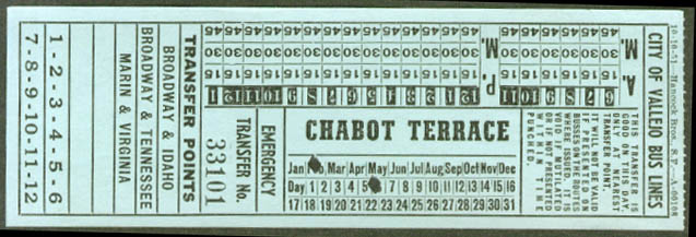 City of Vallejo Bus Lines Chabot Terrace transfer 1951