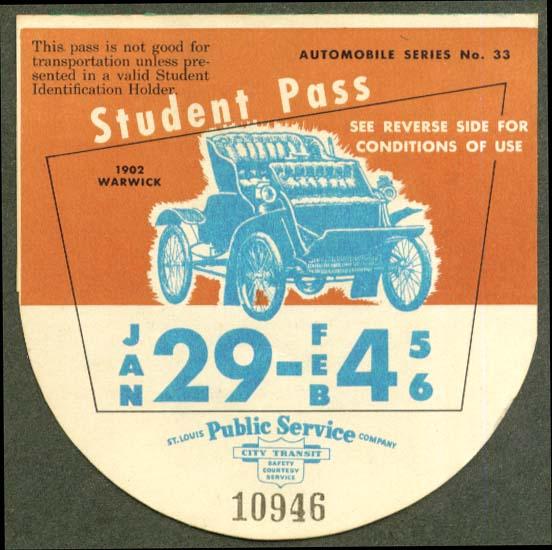 1902 Warwick St Louis Public Service pass 1956