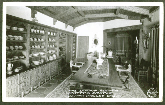 Dining Room Scotty's Castle Death Valley CA RPPC postcard 1930s