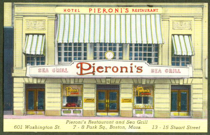 Pieroni's Sea Grill Boston MA postcard 1930s